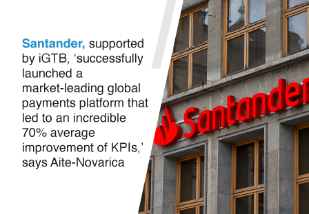 """Santander, supported by iGTB, achieve """"an incredible 70% average improvement of KPIs"""" say Aité-Novarica in their Payments Case Study"""